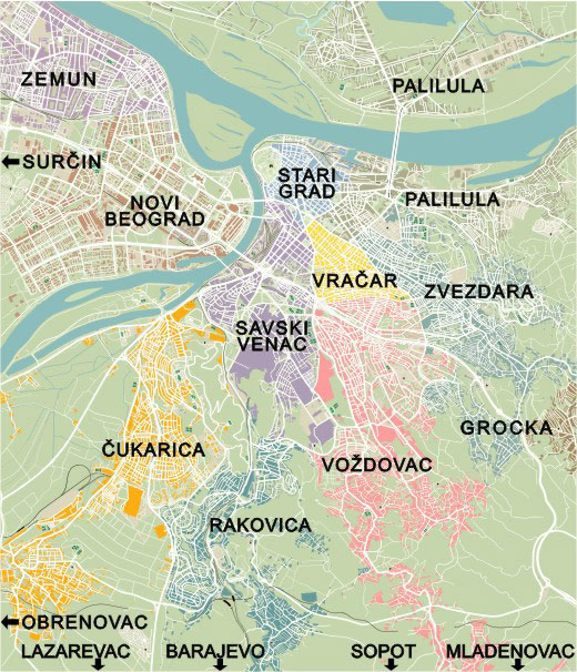 Map of Belgrade